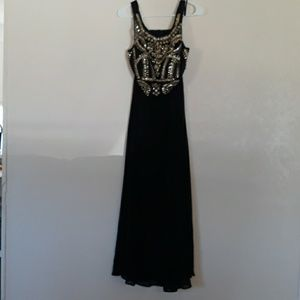 2 pc. Black gown with gold sequins and beads